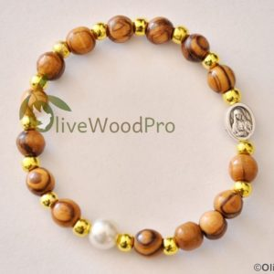 OLIVE WOOD BRACELET GOLDEN BEADS AND CROSS PEARL BEAD HOLY LAND