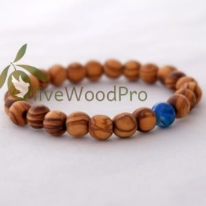 Bracelet OLIVE WOOD Wooden Blue Handmade Holy Land