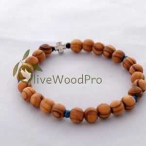 OLIVE WOOD Wooden Bracelet Mini Rosary Cross Handmade Catholic Holy Land