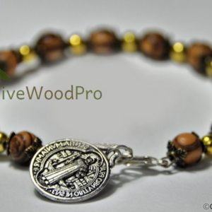 OLIVE WOOD BRACELET MADE WITH GOLDEN BEADS AND ST BENEDICT MEDAL FROM HOLY LAND