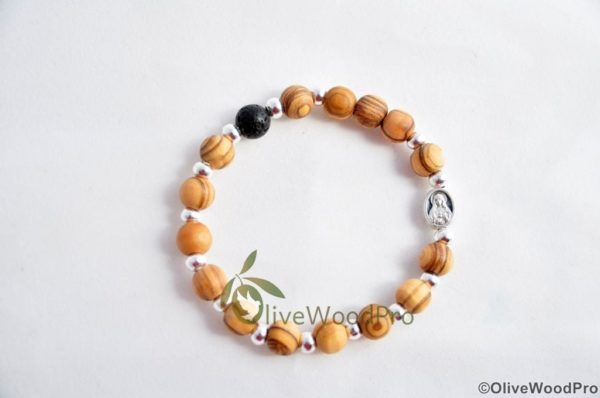 OLIVE WOOD BRACELET MINI ROSARY SILVER BEADS AND VOLCANO BEAD HOLY LAND