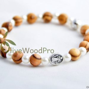 Wooden CATHOLIC BRACELET OLIVE WOOD Religious mini ROSARY HOLY LAND