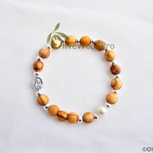 OLIVE WOOD BRACELET SILVER BEADS AND CROSS PEARL BEAD HOLY LAND