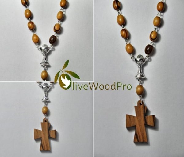 Anglican Olive wood rosary necklace designed and made in Nazareth - Holy land