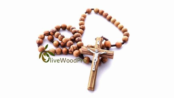 Olive wood rosary First communion Handmade Catholic Certification Holy Land