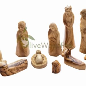 Olive wood nativity set carved Christmas tree nativity set holy family 11cm - Holy land