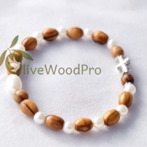 OLIVE WOOD Bracelet WOODEN PEARL Religious HOLY LAND