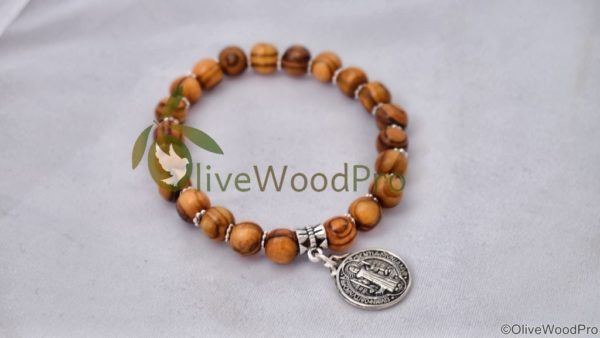 CATHOLIC OLIVE WOOD Bracelet BENEDICT HAND MADE HOLY LAND