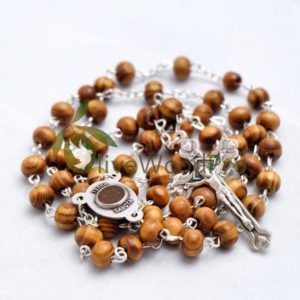 OLIVE WOOD ROSARY BEADS SMALL 5mm NECKLACE HOLY SOIL CROSS - MADE IN HOLY LAND