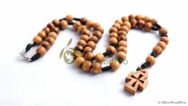 Olive wood rosary beads dark beads brown cord rope made in holy land - Holy Land