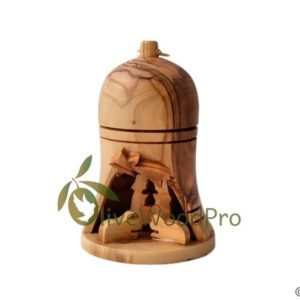 Olive wood nativity bell carved Christmas tree nativity set holy family cave bell shape - Holy land