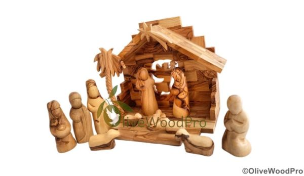 Holy Land Olive wood nativity set carved Christmas tree nativity set 11pc Holy Family set Bethlehem Gifts with stable