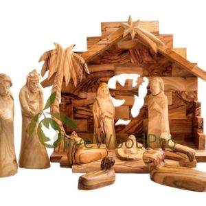 Olive wood nativity set Bethlehem Holy Land Gifts carved Christmas tree nativity set 11 pc Holy Family set Holy Land