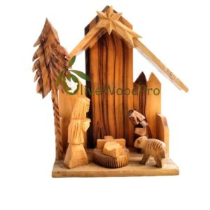 Olive wood nativity Cave Holy Land hand carved Christmas tree Holy family set