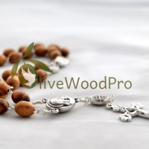 ANGLICAN rosary prayer olive wood christian BETHLEHEM Religious wooden Holy Land SOIL made in the Holy Land