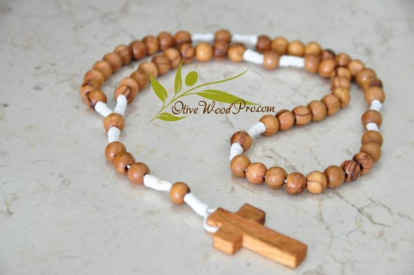Olive wood rosary beads white cord rope made in holy land - Holy Land