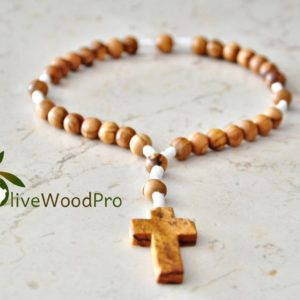 Olive Wood rosary Olivewood Anglican Rosary Prayer Beads white Rope Handmade Bethlehem