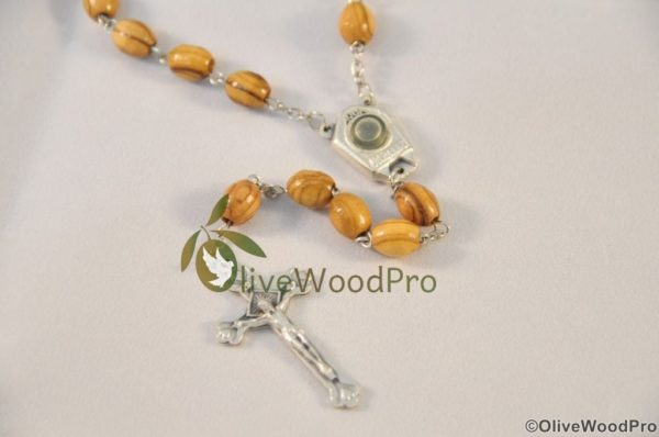 OLIVE WOOD ROSARY FROM HOLY LAND WITH HOLY WATER JORDAN RIVER - HOLY LAND