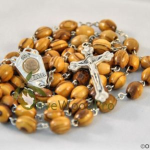 VINTAGE OLIVE WOOD ROSARY CHAPLET NECKLACE HOLY SOIL CROSS HOLY LAND
