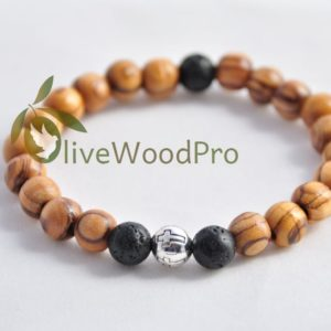 Volcano OLIVE WOOD Bracelet WOODEN Handmade Religious Jerusalem made in the HOLY LAND