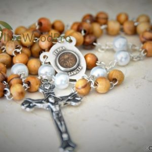 "Hope Olive wood rosary small 5mm/0.19"" beads rosary necklace pearl our father beads Holy land soil and cross - made in Holy Land"