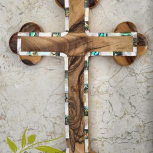 Olive wood cross from holy land with certification