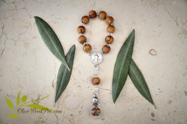 OLIVE WOOD ROSARY BEADS ONE DECADE WITH HOLY SOIL AND ST BENEDICT ICON
