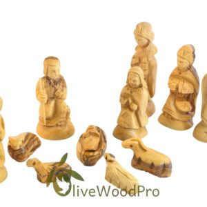 Holy Land Olive wood Christmas tree olive wood nativity set 11 pcs