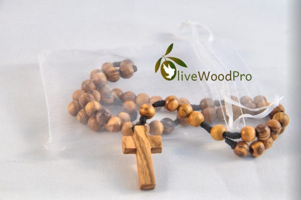 OLIVE WOOD ROSARY BEADS CATHOLIC PRAYER HANDMADE CERTIFICATION POUCH HOLY LAND