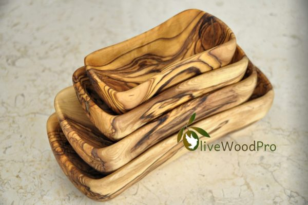 "OLIVE WOOD PLATE SET / RUSTIC BOWL / DISH 8""-5"" /20cm-12cm Olive wood plate set BEST QUALITY - Set of 4 Pc 5""- 8"""