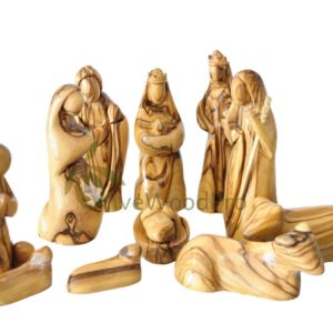 Olive wood nativity set carved Christmas tree nativity set holy family 14cm - Holy land