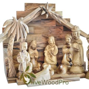Holy Land Olive wood nativity set hand carved set 11 PC Stable made in Bethlehem