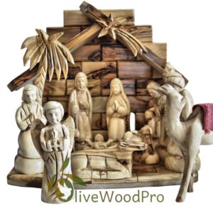 Holy Land Olive wood nativity set carved Christmas tree holy land nativity set 13 pcs Stable
