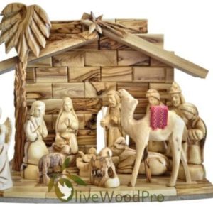 Olive wood nativity set carved Christmas tree nativity set holy family 17cm with Large Stable From Holy land