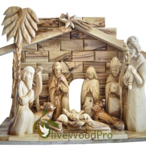 "Holy Land Olive wood nativity set hand carved set Large 11 PCs 23cm-10"" with Stable made in Bethlehem"