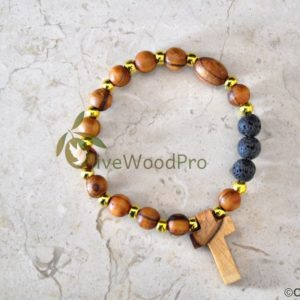 OLIVE WOOD BRACELET ROSARY MADE WITH OLIVE CRUCIFIX FROM HOLY LAND
