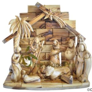 Holy Land Olive wood nativity set Olive wood carved Christmas tree nativity set 11 pcs Stable