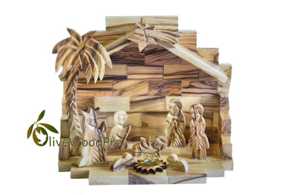 Olive wood Nativity hand carved Christmas tree nativity Holy family set with holy land soil - Holy land