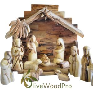 Holy Land olive wood nativity set carved Christmas tree set holy family 12 PC Stable