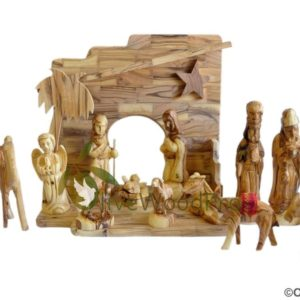 Holy Land Olive wood nativity set carved Christmas tree holy family 15 pcs with Stable