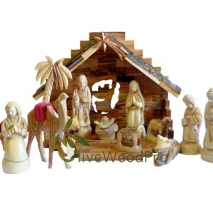 Holy Land Olive wood nativity set carved Christmas tree Holy Family 16 pcs with Stable