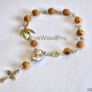 OLIVE WOOD BRACELET MINI ROSARY MADE FROM ROUND BEADS WITH HOLY SOIL CENTER