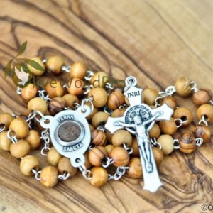 VINTAGE OLIVE WOOD ROSARY ST. SAINT BENEDICT CATHOLIC BEADS NECKLACE CRUCIFIX