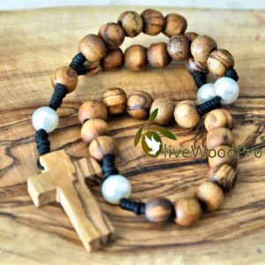 ANGLICAN BETHLEHEM OLIVE WOOD ROSARY BEADS CHRISTIAN PRAYER HANDMADE ROSARY CROSS