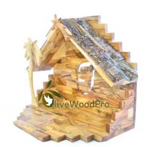 Olive wood nativity Stable 24cm with Large From Holy land
