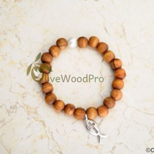 OLIVE WOOD BRACELET MADE WITH SILVER CRUCIFIX FROM HOLY LAND