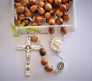 HolyLand Olive wood rosary necklace Holy land soil and cross with certificate