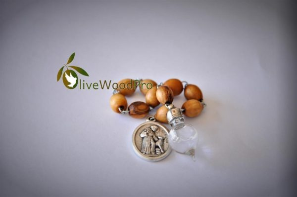 HolyLand's Olive wood rosary one decade with holy water and St Francis medal