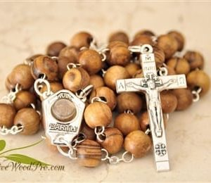 OLIVE WOOD Rosary BEADS CATHOLIC ROSARY NECKLACE CHAPLET WITH HOLY LAND SOIL JERUSALEM