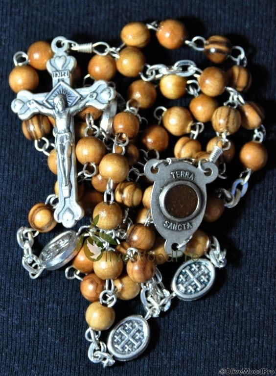 Holy Land Olive wood rosary with silver icons Holy soil and cross